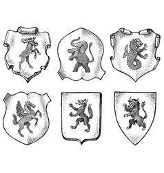 heraldry in vintage style engraved coat arms vector image