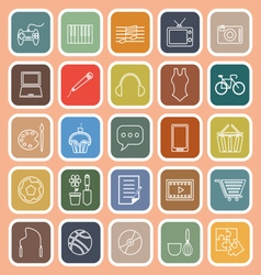 Hobby line flat icons on orange background vector