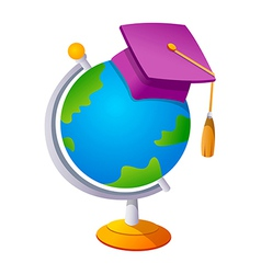 icon globe and graduation vector image
