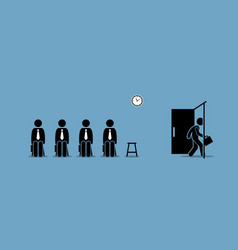Job interview candidates waiting outside room vector