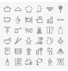 Kitchen utensils line art design icons big set vector