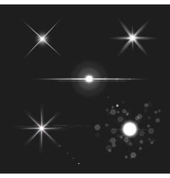 Lens flares star lights vector
