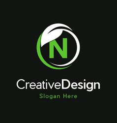 Letter n circle leaf creative business logo vector