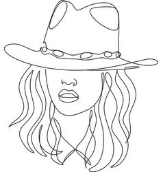 linear minimal woman in hat head accessory vector image