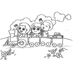 Little boy and friend driving a toy train vector
