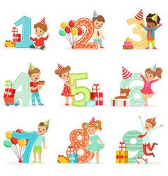 little children birthday celebration set with vector image vector image