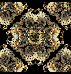 luxury gold baroque 3d seamless pattern elegance vector image