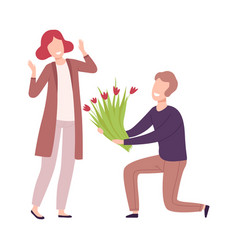 man kneeling down giving bouquet flowers to vector image