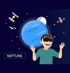 man wearing virtual reality glasses looking vector image