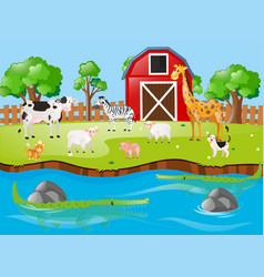 Many animals by the river vector
