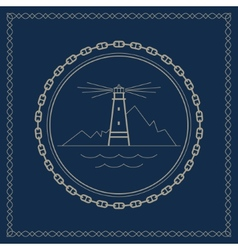 Marine emblem with lighthouse vector
