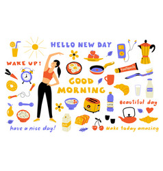 morning lifestyle cute doodle set with lettering vector image