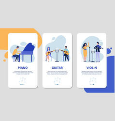 music mobile app pages piano violin guitar vocal vector image
