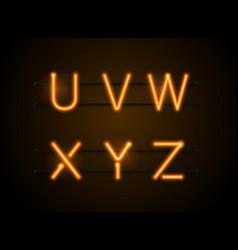 Neon font uvwxyz vector