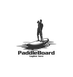 Paddle board silhouette logo vector
