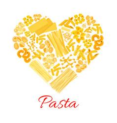 Pasta and italian macaroni heart poster vector
