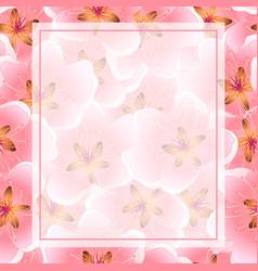 Peach cherry blossom banner background vector
