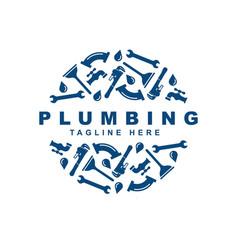Plumbing icon set logo design template vector