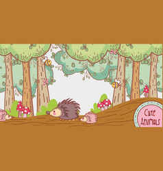 Porcupines in the forest vector