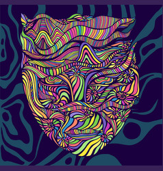 Psychedelic trippy bright anthropomorphic face vector