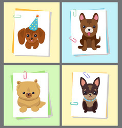 Puppies and dogs poster set vector