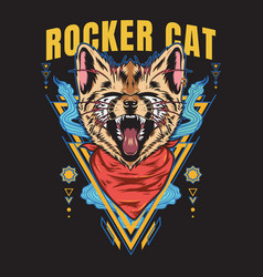 Rocker cat scream tshirt design vector