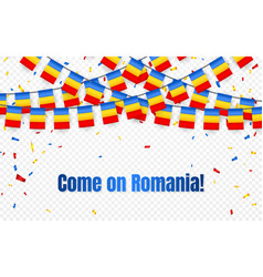 romania garland flag with confetti on transparent vector image