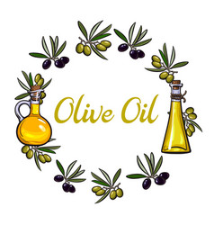 round frame of olive branches and oil bottles with vector image