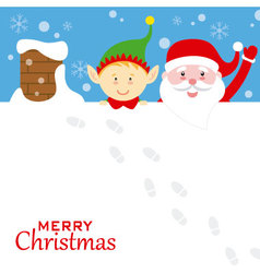Santa claus and elf on the roof vector