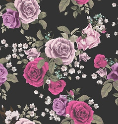 Seamless floral pattern with red and pink roses on vector image