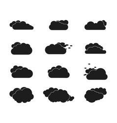 set black sky clouds vector image