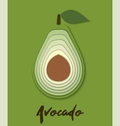 Set paper cut green avocado cut shapes 3d vector