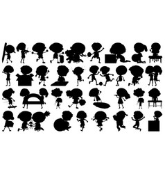 set silhouette kids character vector image