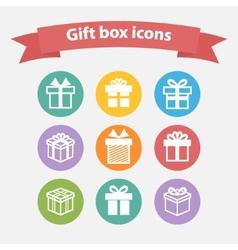 set white gift box iconsshapesign vector image