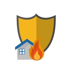Shield and house on fire icon vector