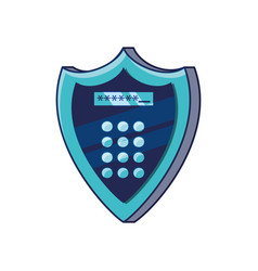 shield with digital access code vector image