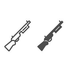 Shotgun line and glyph icon firearm vector