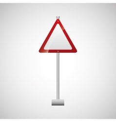 sign traffic white and red triangle design vector image
