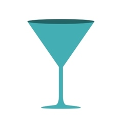Silhouette cyan color with drink cocktail glass vector