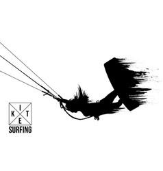 silhouette kitesurfer kiteboarding kitesurfing vector image