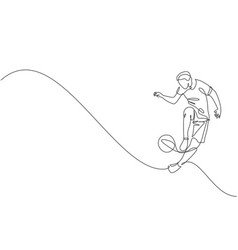 Single continuous line drawing young sportive vector