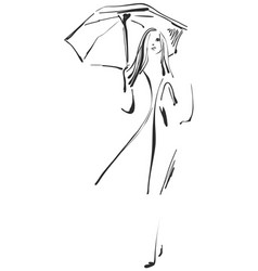 sketch of girl with umbrella vector image