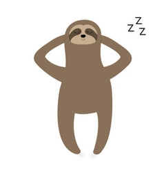 sloth laying on the floor sleeping sign zzz slow vector image