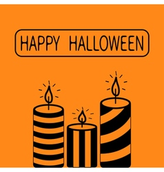 Striped candle set Happy Halloween Greeting card vector