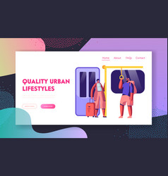 Subway website landing page people in metro vector