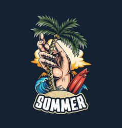 summer on beach surfers hands plant vector image
