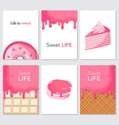 Sweet life creative trendy swet collection cards vector