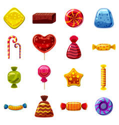 Sweets cakes icons set cartoon style vector