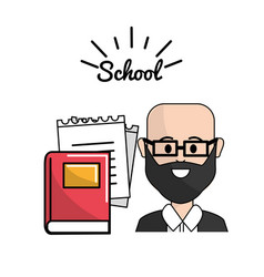 Teacher with books and notebook papper vector