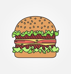 thin line icon burger For web design and vector image